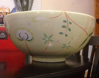 Vintage Flutter lime ceramic bowl designed by Jill Rosenwald