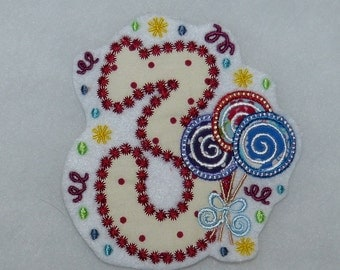 Birthday numbers 1, 2,3,4,5 patch patch embroidered