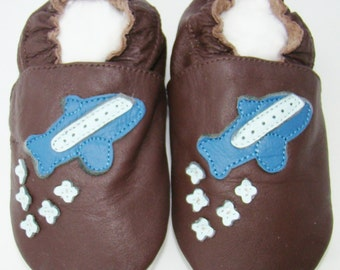 Soft Leather Baby Shoes 0-6 Months plane