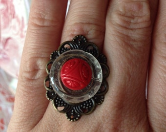 Art Deco Glass Button Adjustable Ring