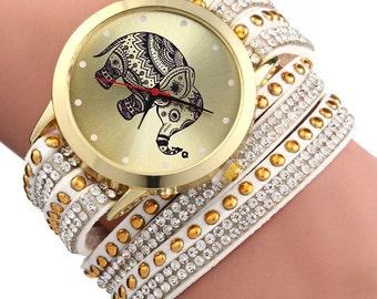 Elephant Bracelet Wrap Wrist Watch.
