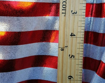 Mystique Horizontal Red/Royal Blue Stripes on Spandex Mystique Four-way Stretch Fabric Sold By Yard