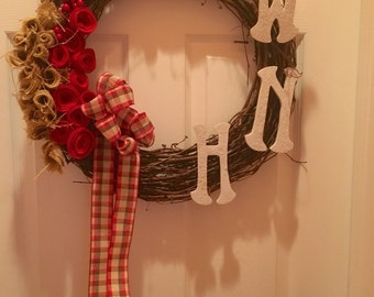 Personalized, monogrammed, handmade, rustic grapevine wreath