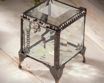 Personalized Glass Jewelry Box Beveled Vintage Antique Stained Glass- J. Devlin Box 153
