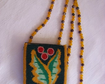 Beaded Floral Pattern Leather Neck Pouch by Betty Walker