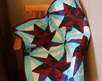 Blazing Star Quilt, baby blanket, modern quilt.