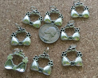 8 pcs ~ Bikini top charms with split rings already attached, new, lead free.