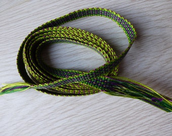Handwoven inkle loom braid 100% cotton - lime green, bright green and deep purple