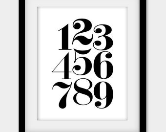 """50% OFF Nursery Numbers Poster, Black and White Numbers Print, Nursery Print, Scandinavian Art, Nursery Wall Decor, Large Print 16x20"""""""