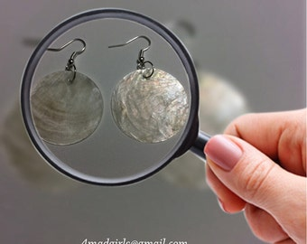 Natural Mother of Pearl Shell Earrings - 35mm Round Earrings