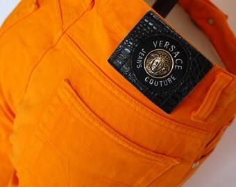 Versace Jeans Couture vintage orange cotton jeans trousers silver medusa Gianni Versace