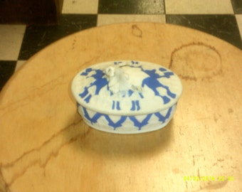 Blue and White Porcelain Trinket Box. White Crepe Overlay. Very Unique Item