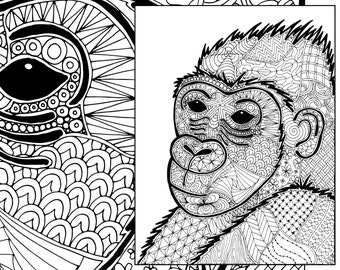Gorilla Coloring Sheet Animal Pdf Zentangle Colouring Page