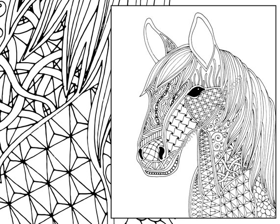 advanced printable horse coloring pages   horse coloring page animal coloring page adult coloring