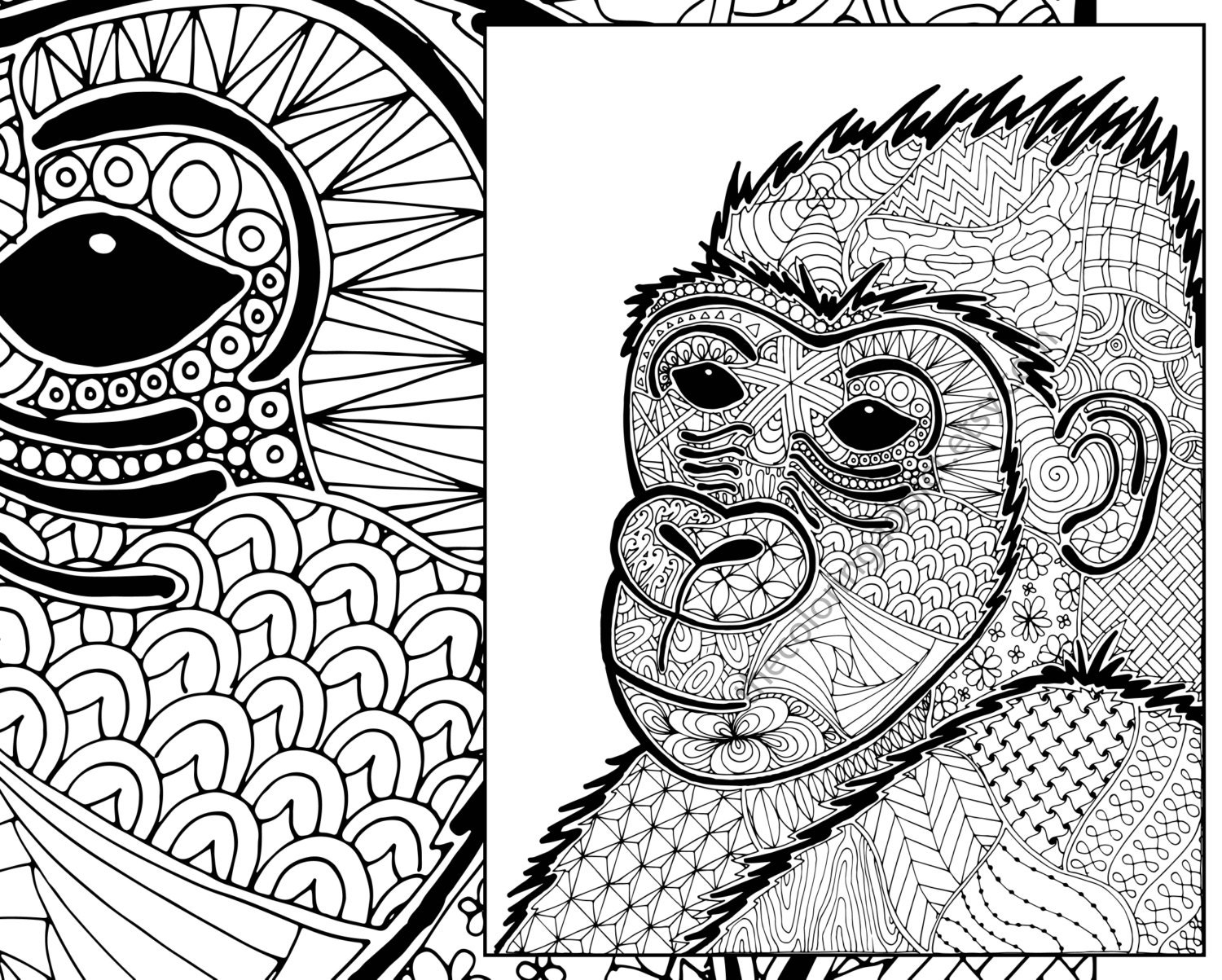 Animal kingdom coloring book gorilla -  Zoom