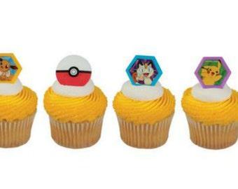 Pokemon cupcake rings (24) party favor cake topper 2 dozen