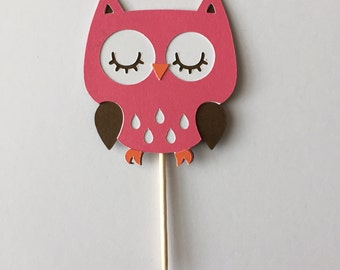 Set of 12 Owl cupcake topper, birthday party, baby shower
