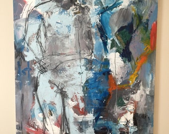 """abstract original painting figure study over sized wall art in acrylic and charcoal on canvas modern art wall art """"Figure En Hout"""""""