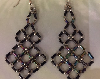 Iridescent black earrings