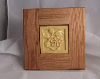 Yellow flower ceramic art tile framed