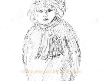 Street Folk - The Disgruntled Lady sketch print - varied sizes.