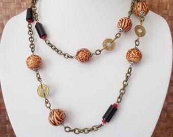 Necklace wood beads wood necklace ethnic Leopard Zebra parts Chinese ethnic style jewelry