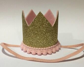 Newborn Gold Crown, Newborn Photography Crown Photo Prop, Gold Crown Prop, Pick your Color Girls Boys  Newborn Crown, Glitter Gold Pink Pom-