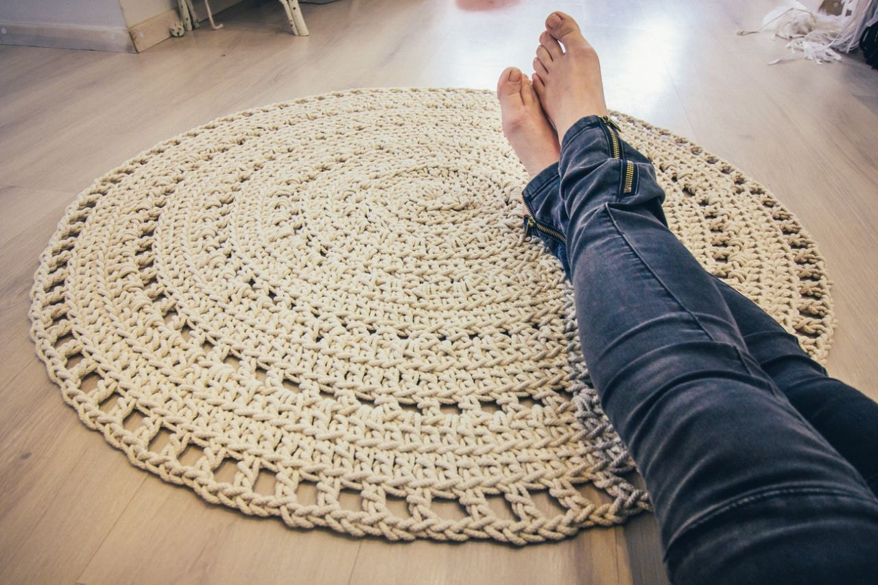 macrame round rug crochet rug natural cotton rug bohemian. Black Bedroom Furniture Sets. Home Design Ideas