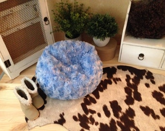 "Baby blue faux fur bean bag chair for your American Girl or other 18"" doll. Plush blue rosettes!"