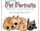 Custom Commission cartoon pet portraits - made to order.