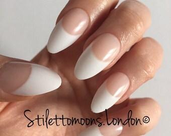 French manicure stiletto almond false nails. 24 pieces per box.