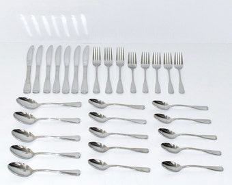Vintage Stainless Steel Glossy Flatware with Tipped Ends, Set of 30