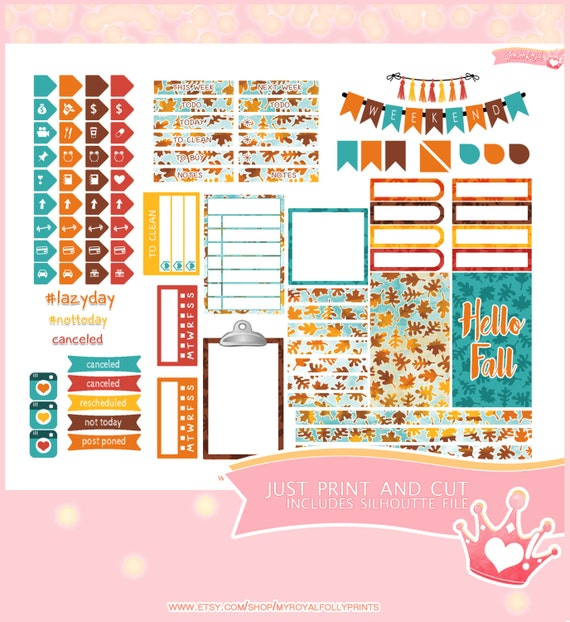 Hello Fall Kit  | Printable Planner Stickers | Happy Planner | Instant Digital Download with Silhouette file