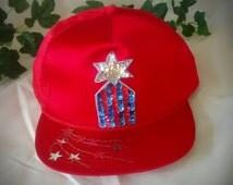 Embellished Red Satin Vintage Baseball Cap