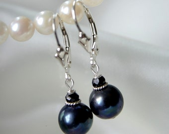 Black Freshwater Pearl spinel earrings Freshwater Pearl with spinel earrings