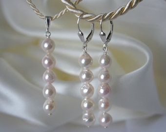 Akoya pearls set earrings Pearl pendant Japanese Akoya cultured pearls earrings with counterpart