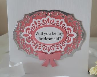 Handmade Will You be My Bridesmaid Card