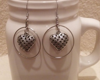Silver Heart Hoop Earrings