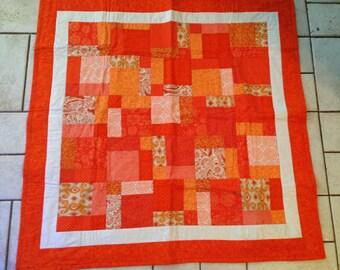 Orange & White Baby Quilt