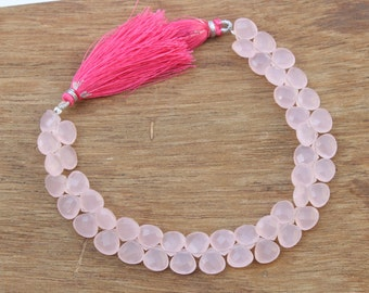 46 pcs 9x10 mm Natural Pink Chalcedony Faceted Heart Briolettes Beads, Semiprecious Gemstone Gemstone Beads CHL01