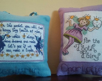 Cross Stitch Tooth Fairy Pillows/ Personalized Tooth Fairy Pillows
