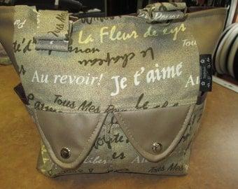 handbag, leather and cotton printed a ganse l shoulder