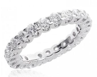 14K White Gold Round Brilliant Cut Diamond Eternity Wedding Band (2.75 tcw)