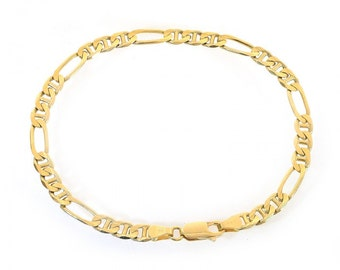 5.0mm 14K Yellow Gold Figarucci Link Chain Bracelet