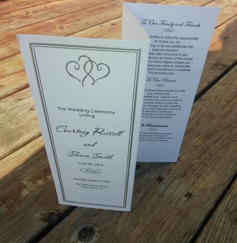 Personalized Platinum Hearts Wedding Program Tri Fold