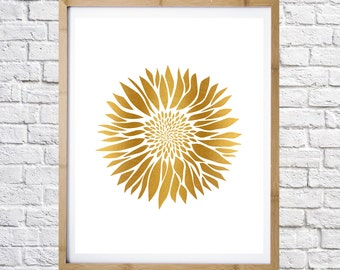 poster of sunflower gold, digital print, instant download, minimal art, printable art, wall decor