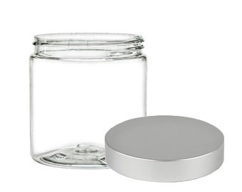100 Clear Jars with Brushed Silver Lids | Plastic Jars for Body Butter, Sugar or Salt Scrubs | SET of 100 - 8oz (237ml)