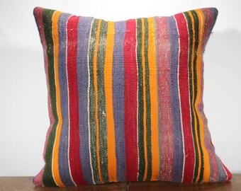 Multicolor Stripe Kilim Large Size Kilim Pillow 24x24 Oversized Cushion Cover Pillow Cover Bohomien Turkish Kilim Pillow SP6060-29