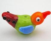 Whimsical Glass Bird Bead Multicolored
