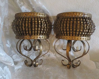 Metal Wall Basket - Wall Flower Holder,Wall Candle Holder - French Country Home
